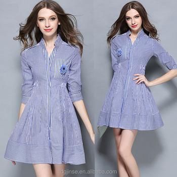 19c49afd1ff6 The summer fashion tall waist long sleeve ladies dress blue white stripe  simple elegant casual dresses