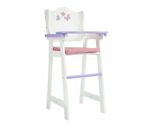 Princess Baby Doll Furniture -Wooden Baby High Chair (White)