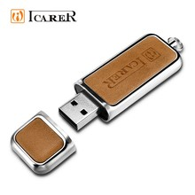 ICARER Custom Logo Leather USB Flash Drive 16GB 8GB