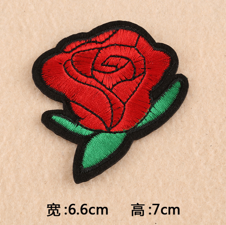 Factory price direct selling embroidery patch no minimum order,rose flower embroidery patches for clothing