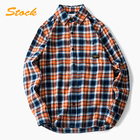 Wholesale men long sleeves contrast color plaid cotton shirt