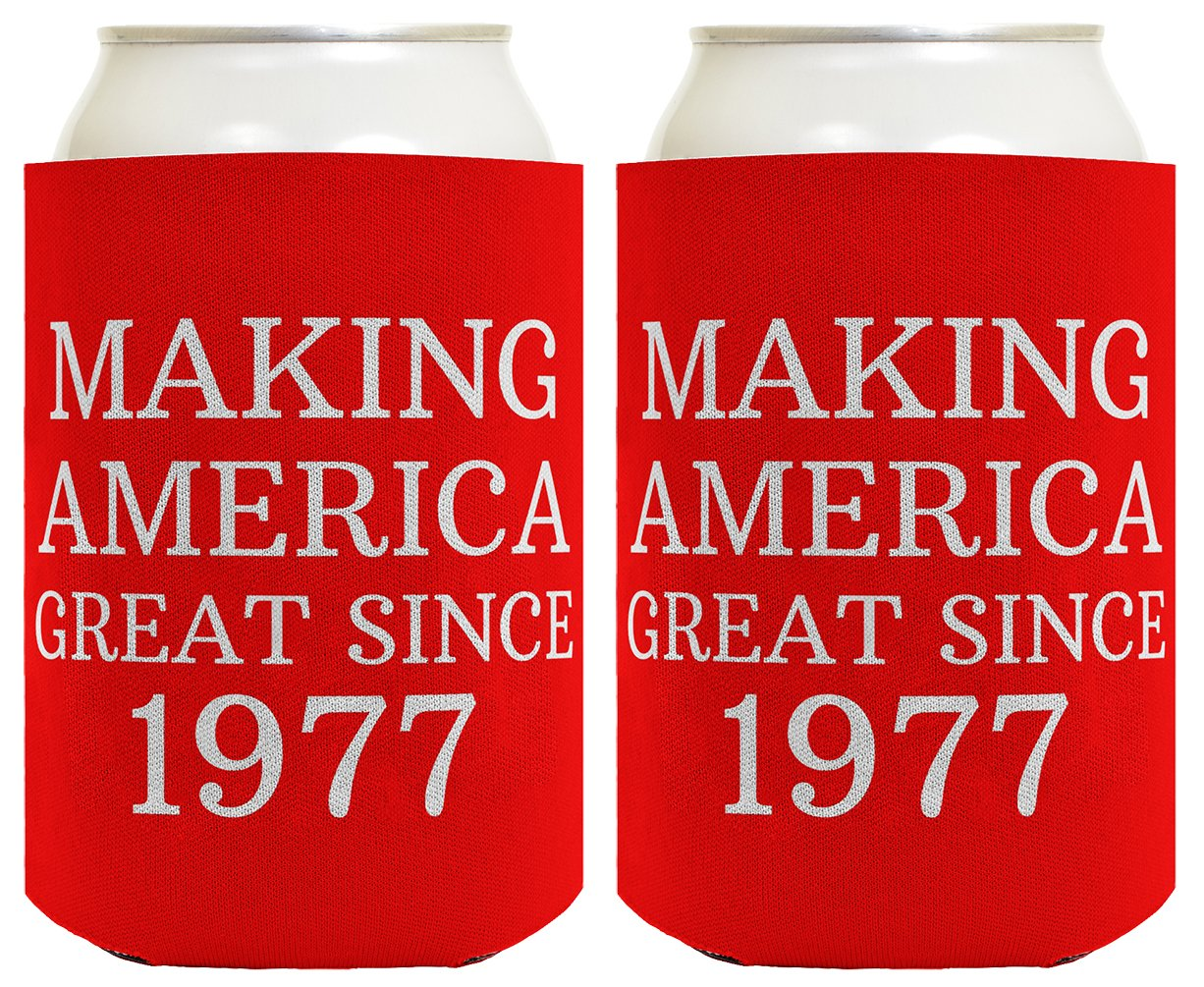 Republican Gifts for 40th Birthday Making America Great Since 1978 40th Birthday Gag Gifts for Republican Party 2 Pack Can Coolie Drink Coolers Coolies Red