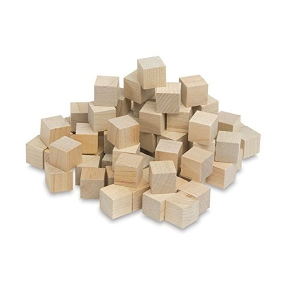 "Wooden Cubes - 3/4 Inch - Wood Square Blocks For Math, Puzzle Making, Crafts & DIY Projects (3/4"") - by Craftparts Direct - Bag of 100"
