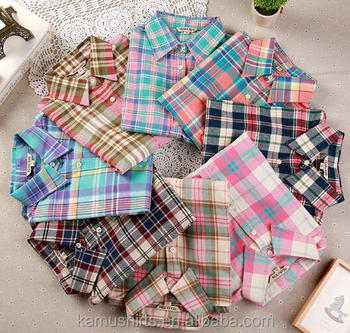 Woman cotton plaids flannel shirts blouse