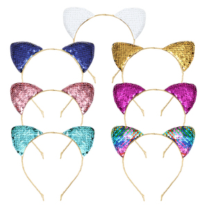 2019 Wholesale Latest Design Reversible Glitter Shining Sequin Fancy Baby Kids Cat Ears Headband For Young Girl