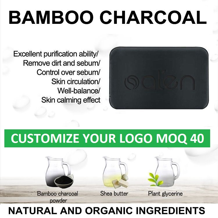 MOQ300 Private Label Natural Bamboo Charcoal Handmade Soap