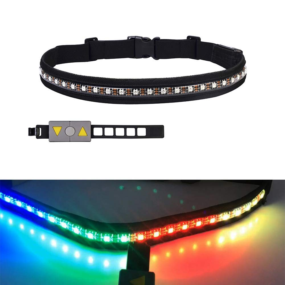 MORE11 LED Running Belt, Adjustable USB Rechargeable LED Reflective Belt Safety Reflective Gear, 24 RGB Warning Light Waist Belt with Remote Control for Running, Walking, Riding, Jogging, Cycling
