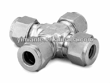 cross, twin ferrule tube fittings, compression tube fitting