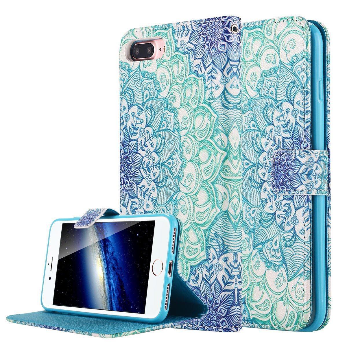 iPhone 7 Plus Case, LONTECT Unique Pattern PU Leather Stand Flip Wallet Case Cover with Card Slot Holder for Apple iPhone 7 Plus - Flower