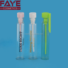 Customized cap color 1ml mini clear bottle glass vial for perfume