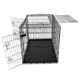 black Portable folding pet cage with abs tray