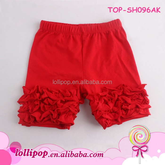 9dd9672d9a8a4 Wholesale Blank Cheap Solid Red Color Toddler Girls Icing Ruffled Shorts  Soft Kids Cotton Ruffle Icing