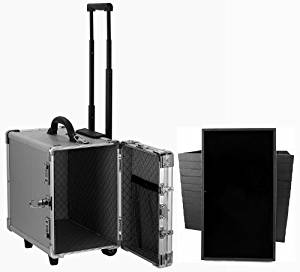 Professional Aluminum Jewelry Carrying Rolling Case Handle w/ 12 Trays Included by Best Jewelry Supply