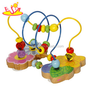 Wholesale wooden beads cube colorful wire labyrinth toy for kids WJ278242