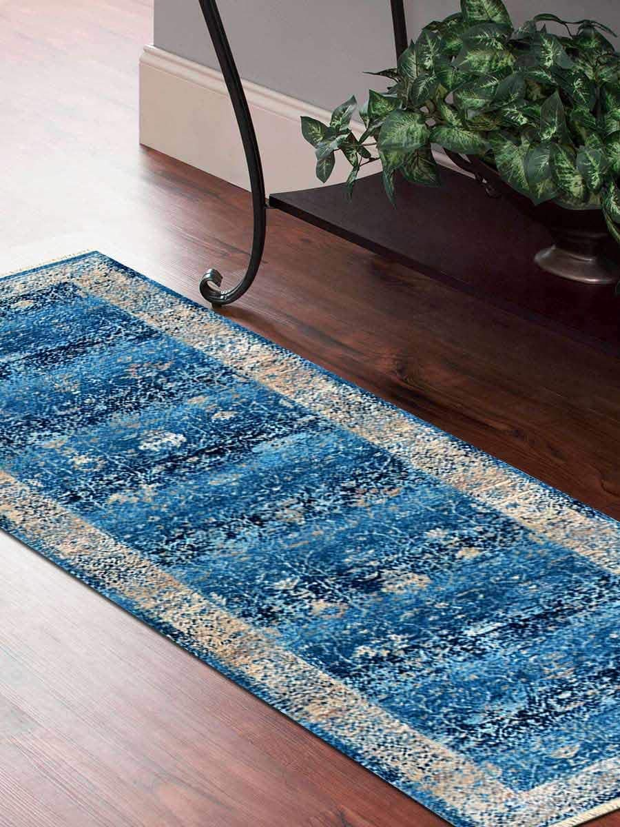 Crossweave Machine Made Polyester 2'6''x9'10'' Turkish Oriental Runner Rug Blue