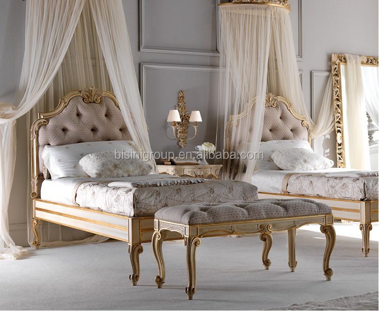 Bisini europese stijl meisjes houten hand carving bed luxe