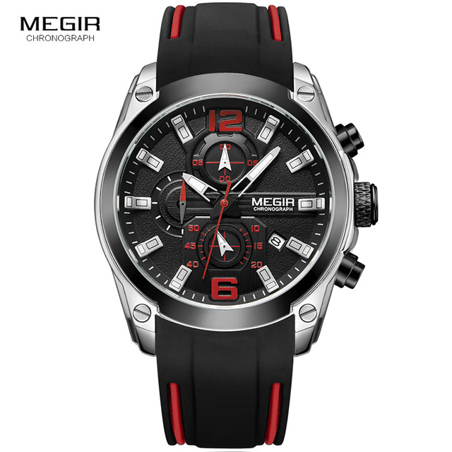 Megir Men's Chronograph Analog Quartz Watch with <strong>Date</strong>