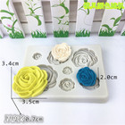 7 cavity flower shaped moldes de silicon para fondant
