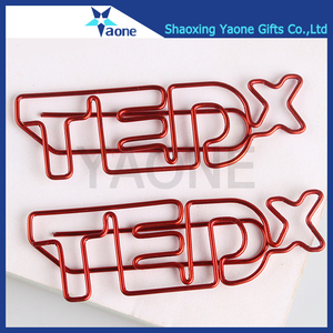 Company logo brand custom shaped letters color plated promotional gifts advertising paper clip