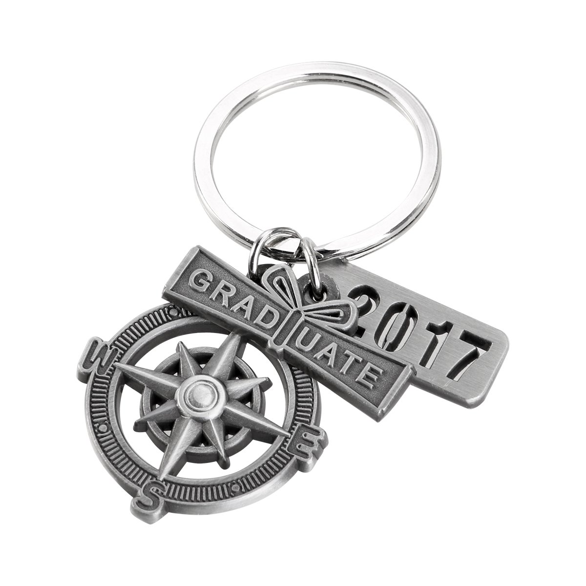 """Graduation Keychain with Scroll, """"2018"""" Charm and Compass -- Gift for a Graduate"""