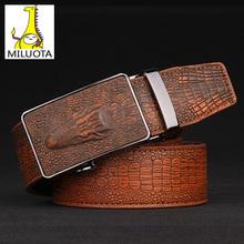 [MILUOTA] 2015 Fashion croco automatic buckle genuine leather belts for men vintage mens belts luxury brand belt men W309