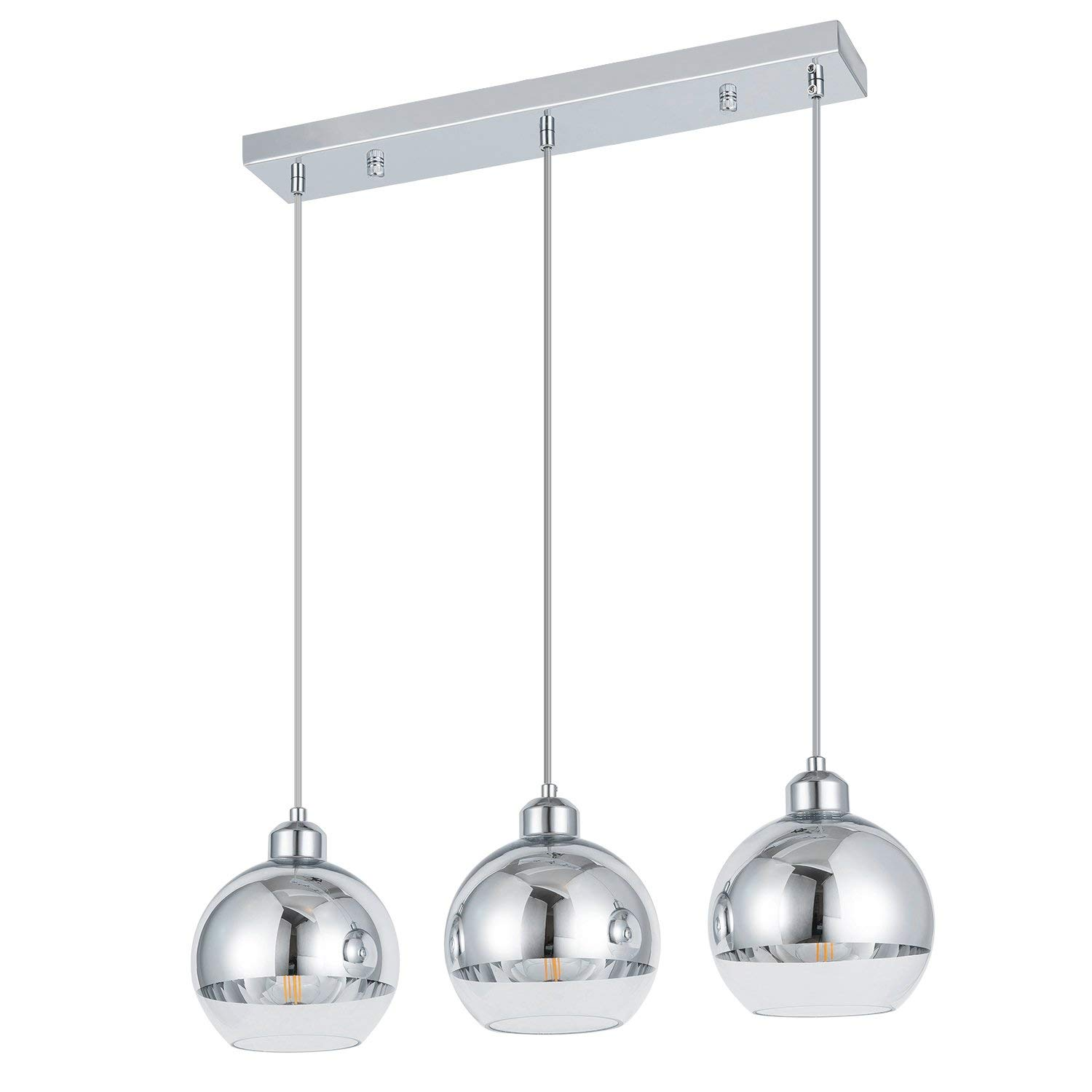 Cafe,Bar LED bulb Not Included for Kitchen Island Dining room Crystal mini pendant light fixtures,Chrome finish crystal pendant lamp Smart Lighting-Shupregu 1-light pendant lighting