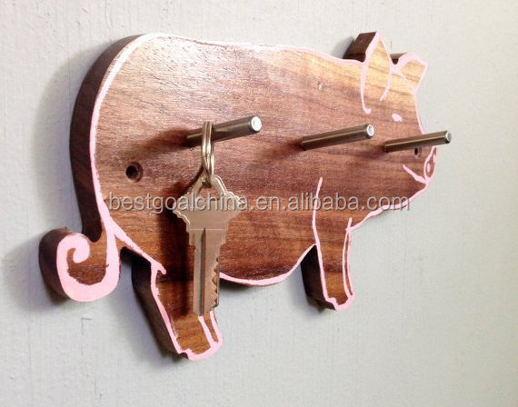 Kids Reclaimed Pig shape Wood Coat Wall Hook
