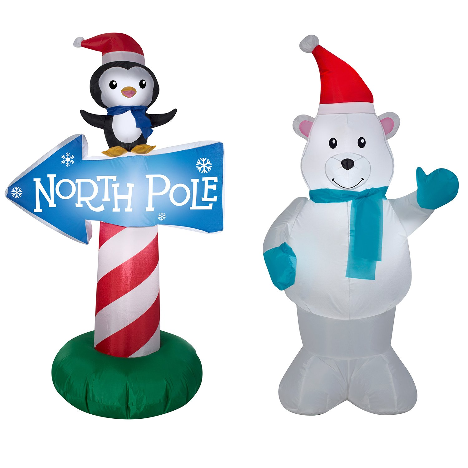 polar bear penguin w north pole sign bundle christmas inflatables by gemmy - Christmas Inflatables Cheap