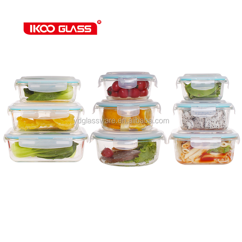 glass houseware take away plastic lid microwave oven lunch box
