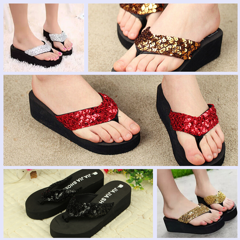 Fashion Women Platform Flip Flops Summer Sequined <strong>Sandals</strong> 5 Colors
