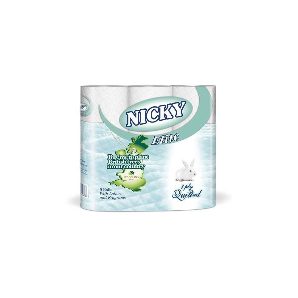 Nicky Elite White 3 Ply Quilted Toilet Rolls (9) - Pack of 2