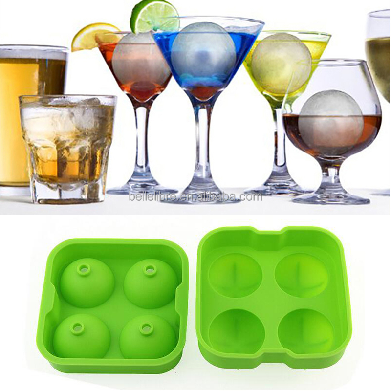 Silicone ice ball mold 4 Silicone Sphere Ice Cube Mold ice ball machine