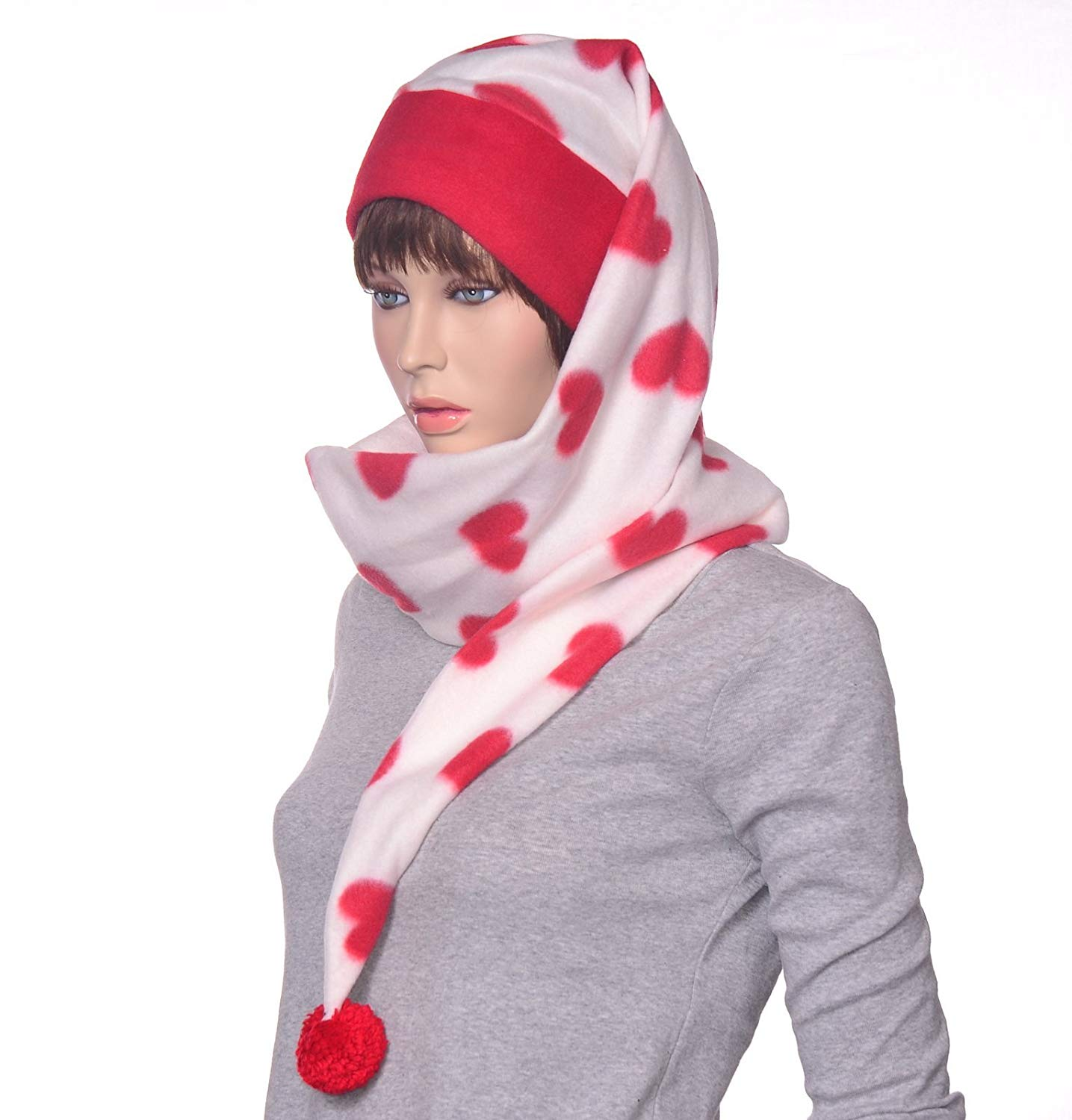 dec7708a768 Get Quotations · Long Wrap Around Stocking Cap Red and White with Hearts