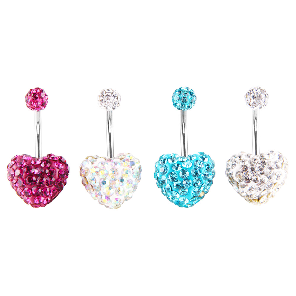 Belly Rings Epoxy Red Heart Navel Rings Body Piercing Jewelry