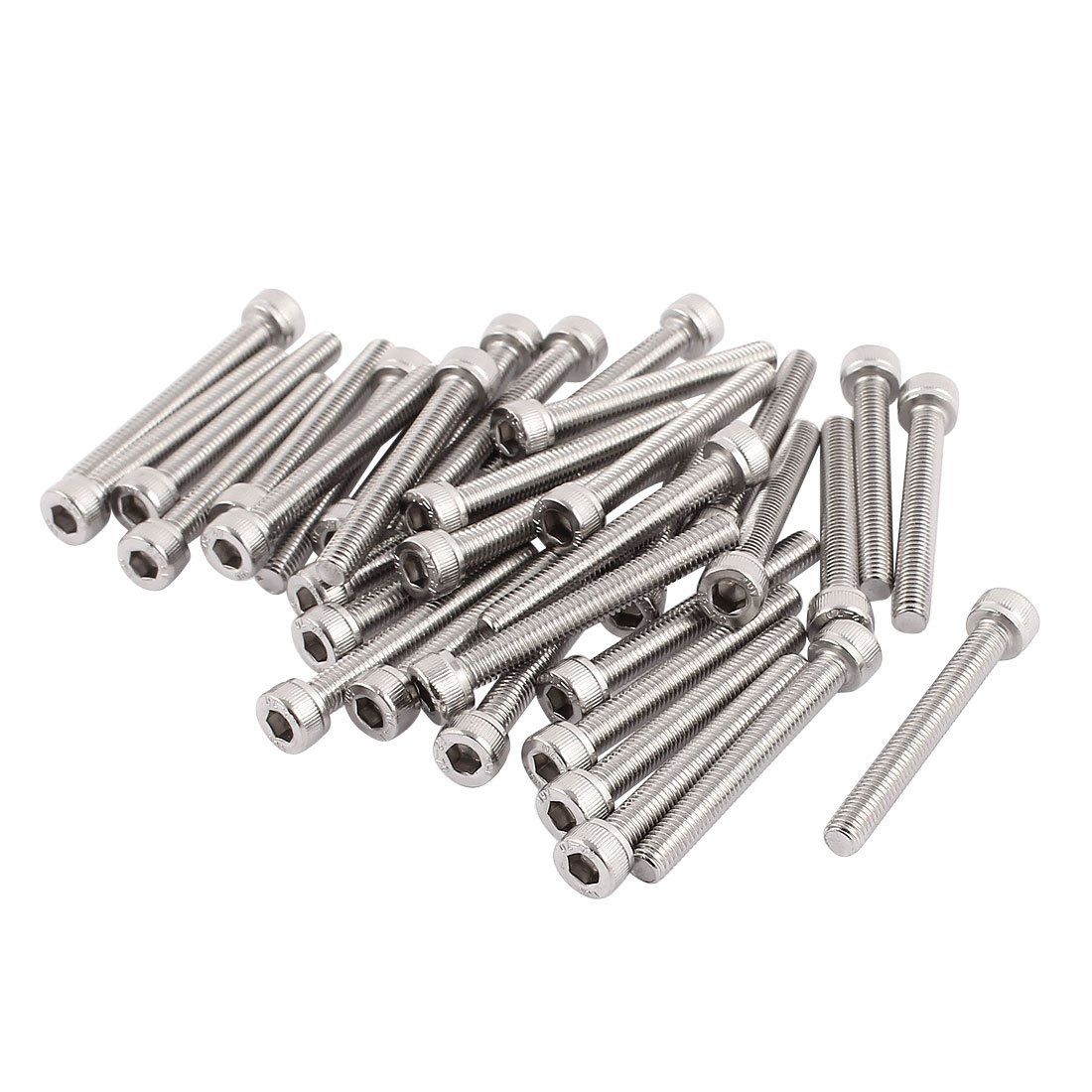uxcell M3x25mm Thread 304 Stainless Steel Hex Socket Head Cap Screw Bolt DIN912 55pcs