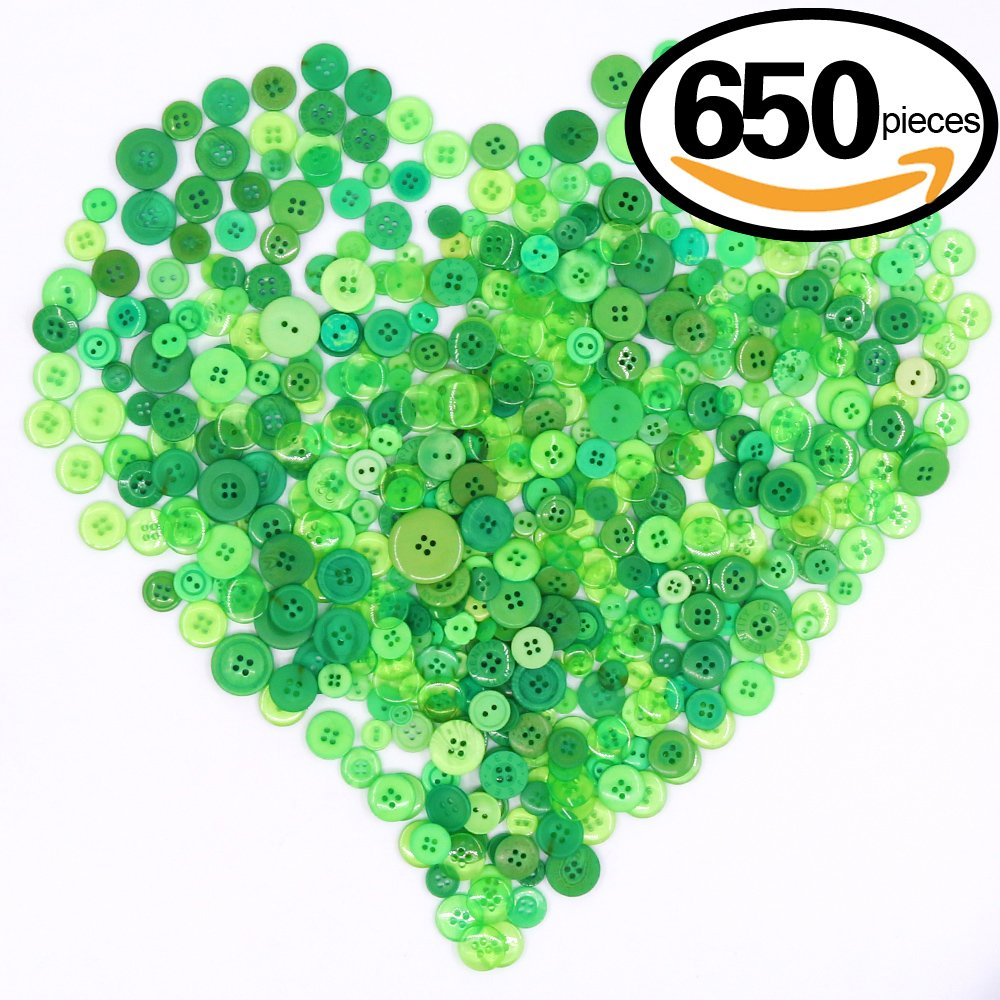 Swpeet 650 Pieces Assorted Sizes Resin Buttons 2 and 4 Holes Round Craft Buttons for Sewing DIY Crafts Children's Manual Button Painting (Green)
