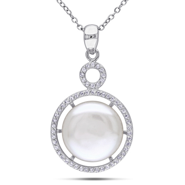 Fashion silver jewelry big freshwater pearl in circle with Cubic Zircon pendant necklace for wedding