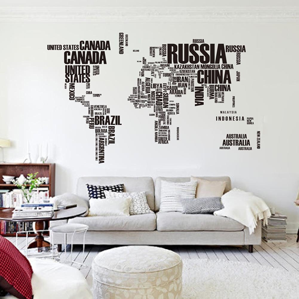 World Map Wall Sticker Country Name Wall Sticker Decal in Words-large World Map Stickers for Home or Office Decor