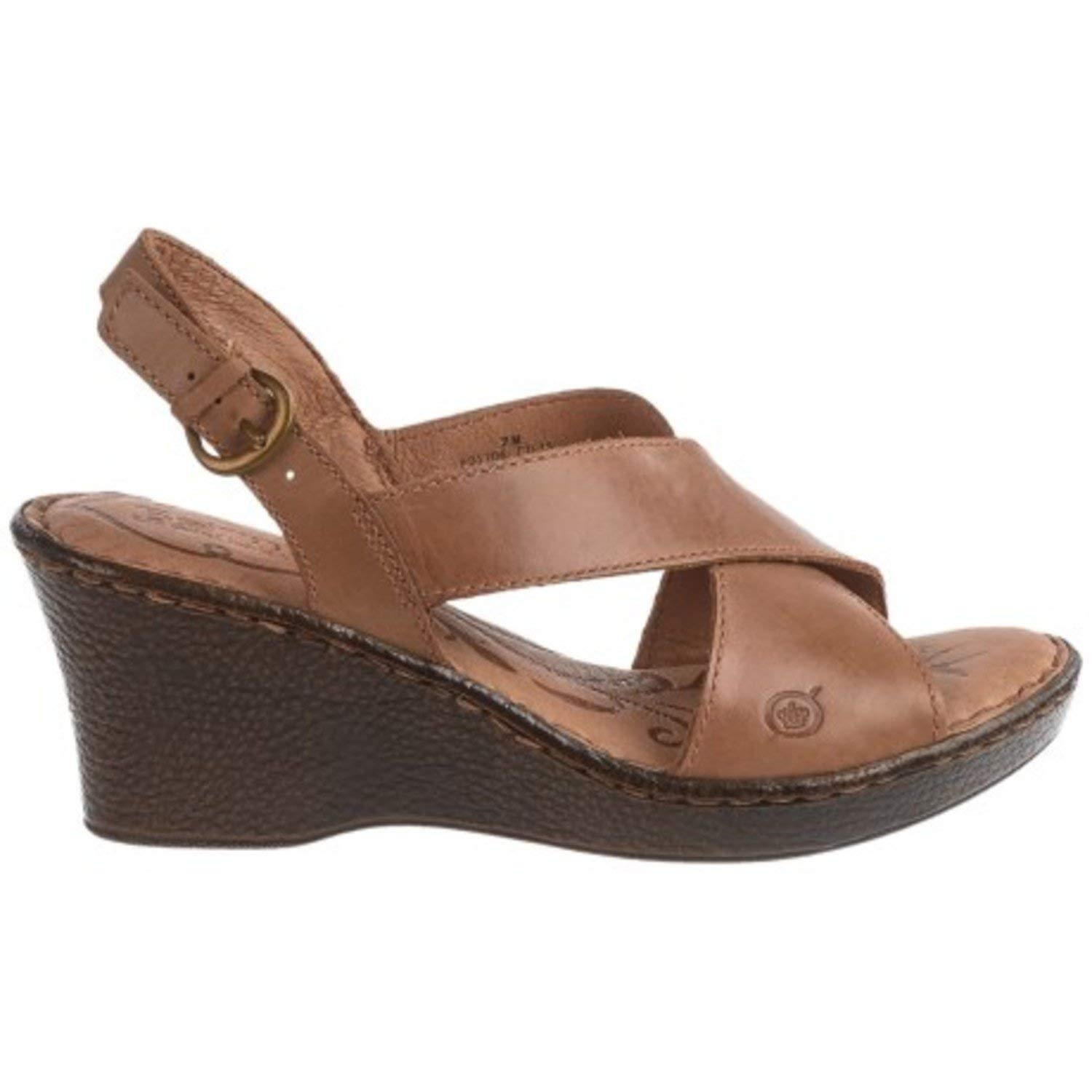 024b47d13be9 Get Quotations · Born Ashley Cross-Strap NUT Leather Wedge Sandals Size  7