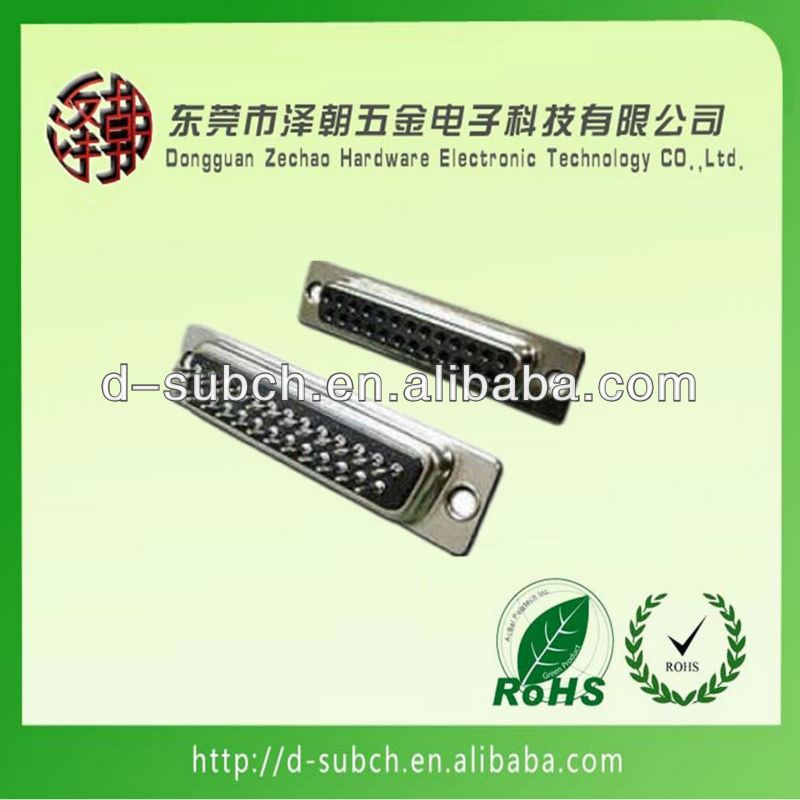 Black nicke plating for db25 connector hood,25pin solder connector