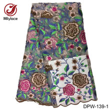 Ткань из Дубая кружевная Цветочная вышивка французская кружевная ткань повторяющаяся 2017 кружевная ткань роскошная кружевная ткань DPW-139(Китай)