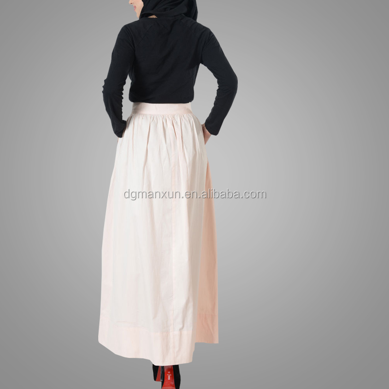 High Quality Hot Selling Ladies Basic Cotton Twill Zipper Skirt Islamic Clothing Women Modest Dress