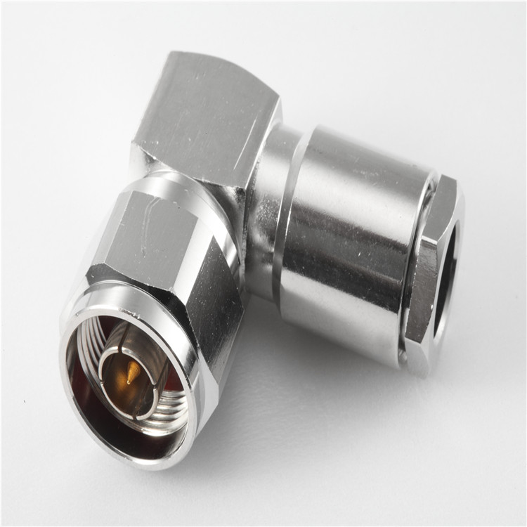 nickel plated N male clamp for 3/8 Super-flexible cable right-angle rf connector