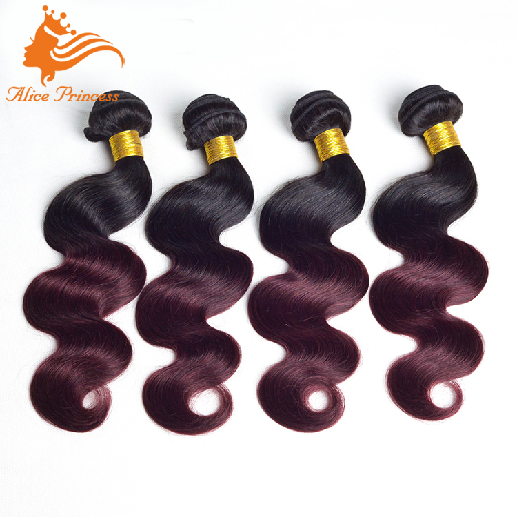 Ombre Bresilienne Human Remy Hair Weaving 99J Virgin Peruvian Hair Weft Body Twist Hair Weaving Bundles