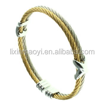bcea9a055cd Men Women Stainless Steel Twisted Cable Wire Infinity Bracelet Open Cuff  Bangle