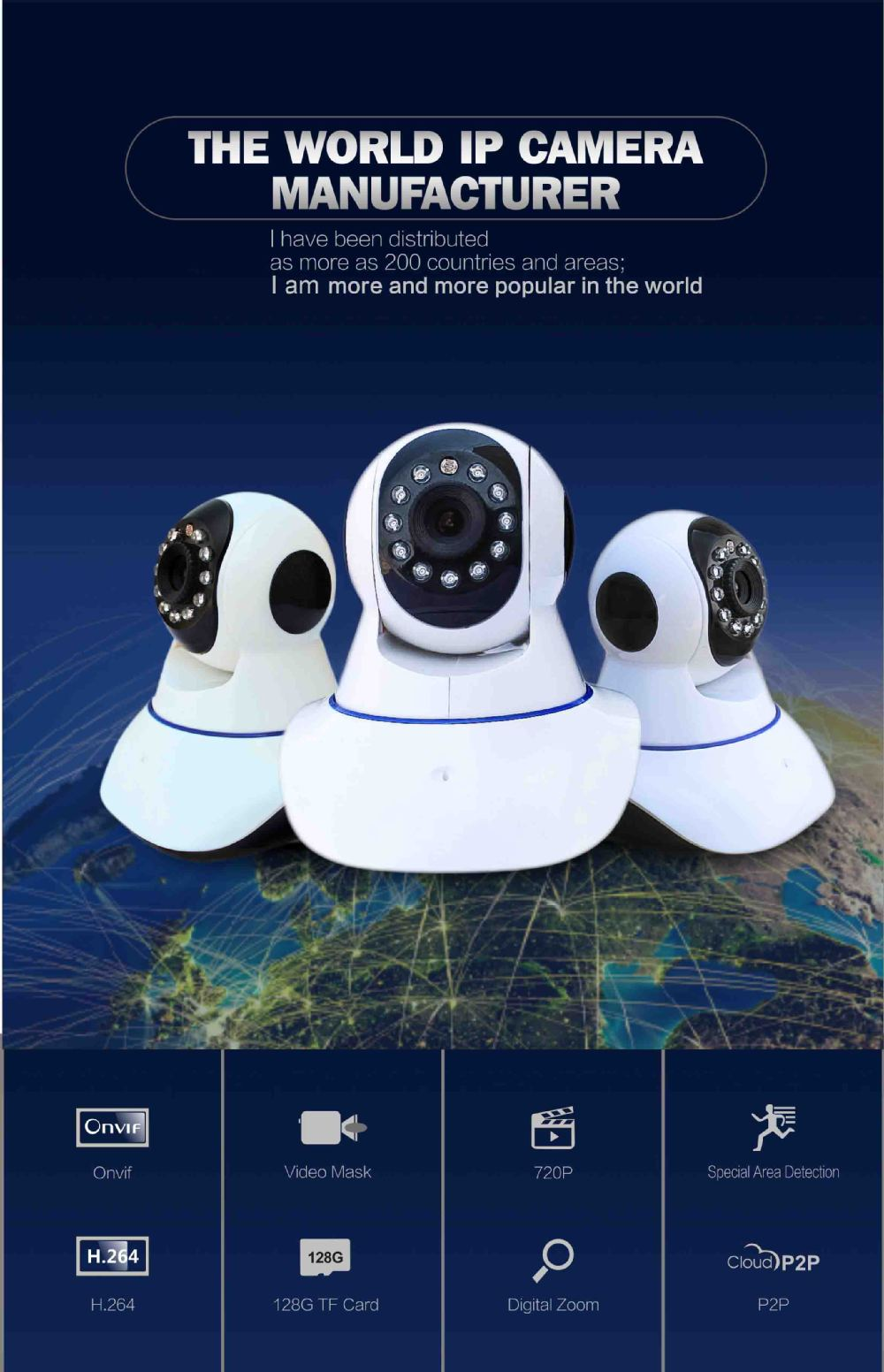 High Quality 720P Indoor HD Wireless Security Camera TF Card OEM Wifi Ip Camera