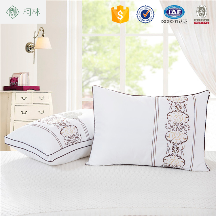 2018 cheap wholesale custom embroidered new design soft hotel pillow