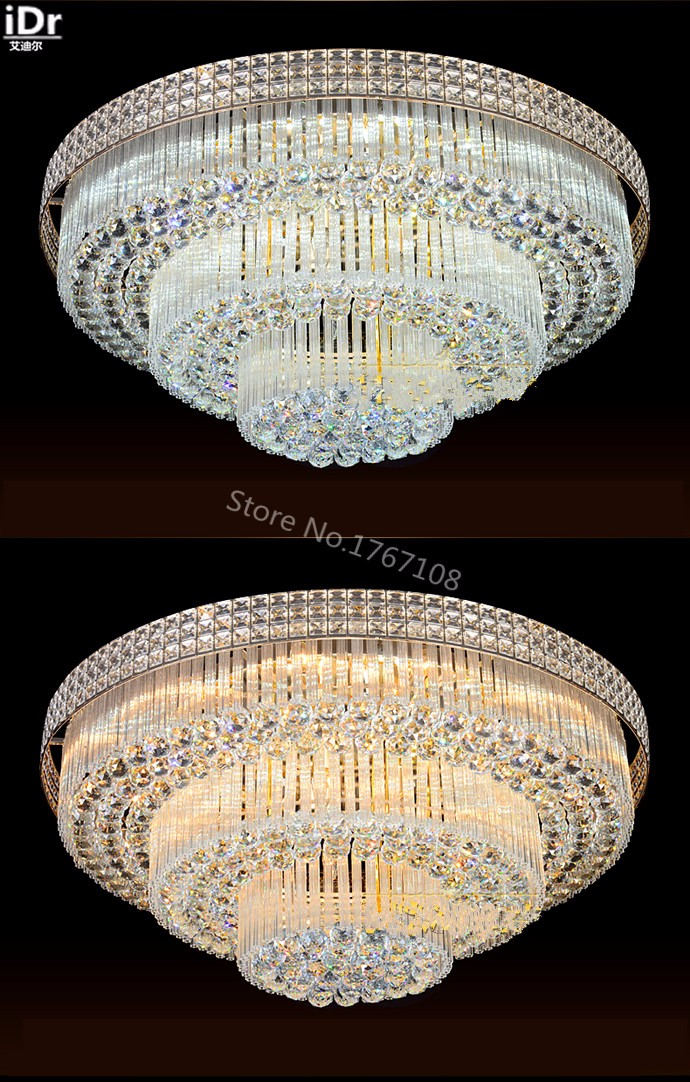 Golden Circular Living Room Lamp Crystal Lamp S King Cake Bedroom Living Room Lights Led Lights Ceiling Lights The New Listing Ceiling Lights Ceiling Lights & Fans