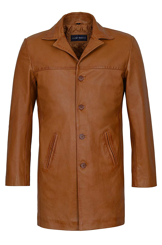 Smart Range New Men 4 Buttons Classic Blazer Knee Length Tan Lambskin Leather Jacket 3476