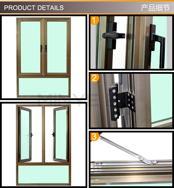Menangani Jenis Aluminium Tingkap Jendela Kaca Sisi Tergantung
